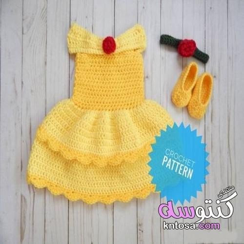 40bf405ff82fc ملابس اميرات بالكروشية للاطفال