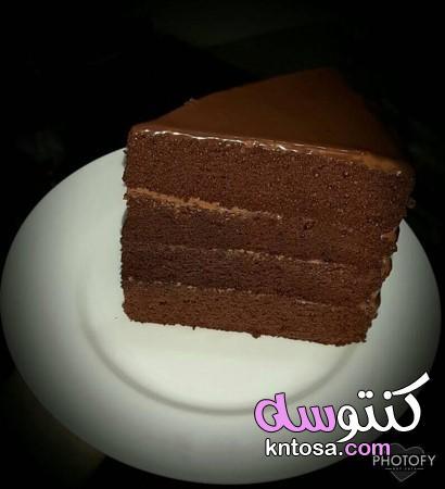 طرق تزيين التورتة بالشوكولاتة،تورته الشيكولاتة الفاخرة مزينه بورد من عجينه الشيكولاته kntosa.com_12_20_157