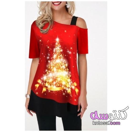 2020 جديد أزياء تي شيرت،شجرة عيد الميلاد طباعة جولة الرقبة تي شيرت kntosa.com_14_19_157