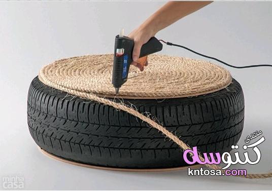 طريقة صنع كرسي من اطارات السيارات بالصور,افكار اطارات السيارات,صنع كرسي يدوي kntosa.com_16_19_155