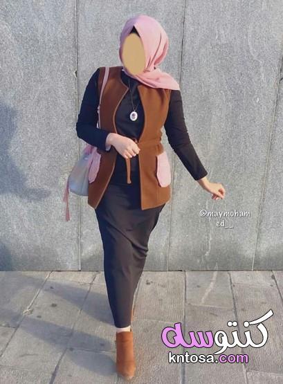 أزياء وملابس محجبات 2019 - 2020 كنتوسه،احدث تصميمات ازياء ملابس محجبات مودرن وشيك kntosa.com_18_19_157