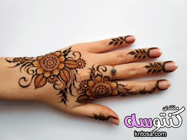 طريقة رسم نقش حناء مذهل للعيد وجميع المناسبات,نقش حناء تزيين يدك وظهرك بلمسة عربية جميلة,رسم حنا2019 kntosa.com_21_18_154