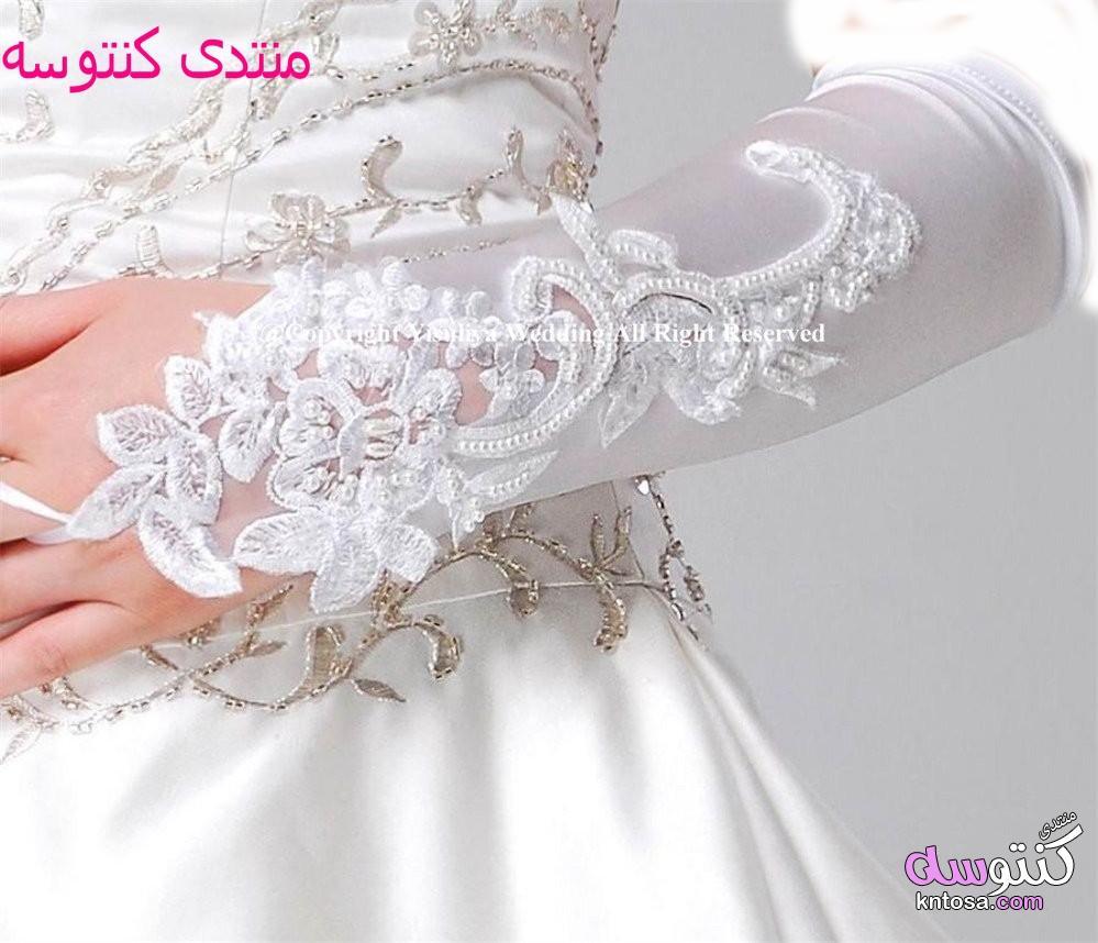 قفازات قصيرة شير تول العروس,قفازات يدوية زهور الزفاف,قفاز 2019 للعروسة kntosa.com_22_19_154