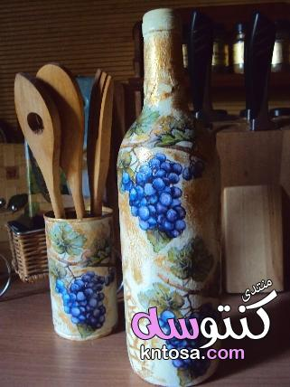 طريقة تزيين الزجاجات الفارغة,تزيين قارورة زجاجية,افكار ل اعادة تدوير زجاجات العصير kntosa.com_23_19_155
