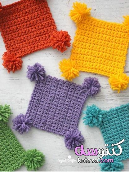 Crochet art،كروشيه قواعد أكواب على شكل وردة مجسمة،كوسترات خشب كروشيه 2020 kntosa.com_28_20_159